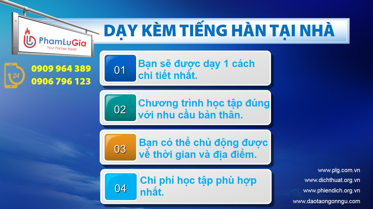 Dạy kèm tiếng Hàn tại nhà